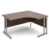 1400mm Right Hand Ergonomic Desk In Walnut 25mm Top & Silver Cantilever Double Upright Legs
