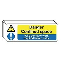 Self Adhesive Vinyl Danger Confined Space Sign Multi-Pack of 5