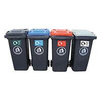 Dark Grey 120L Wheeled Recycling Bins Set of 4