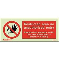 Photoluminescent Rigid Plastic Sign 200x80mm Restricted Area No Unauthorised Entry Breach Of Security