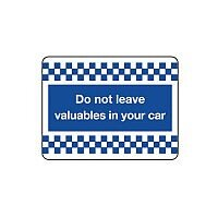 Self Adhesive Vinyl Security & Cctv Sign Do Not Leave Your Valuables In Your Car