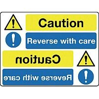 Self Adhesive Vinyl Mirror Sign Header Caution Reverse With Care
