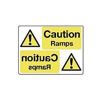 Self Adhesive Vinyl Mirror Sign Header Caution Ramps