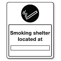 Self Adhesive Vinyl Smoking Area Sign Smoking Shelter Located At