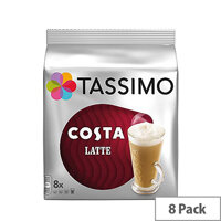 Tassimo T-Discs Costa Latte (Pack of 8 Capsules) - Makes 8 Drinks