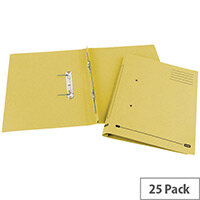 Transfer Spring File Recycled Foolscap Yellow 35mm Pack 25 Elba Spirosort