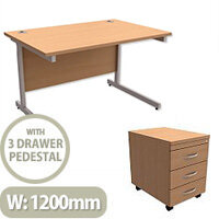 Office Desk Rectangular Silver Legs W1200mm With Mobile 3-Drawer Pedestal Beech Ashford