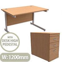 Office Desk Rectangular Silver Legs W1200mm With 800mm Deep Desk High Pedestal Beech Ashford