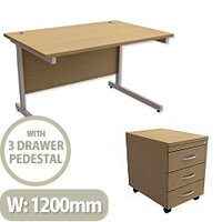 Office Desk Rectangular Silver Legs W1200mm With Mobile 3-Drawer Pedestal Urban Oak Ashford  – Cantilever Desk & Extra Storage , 25 Year Warranty