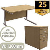 Office Desk Rectangular Silver Legs W1200mm With 800mm Deep Desk High Pedestal Urban Oak Ashford  – Cantilever Desk & Extra Storage , 25 Year Warranty