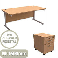 Office Desk Rectangular Silver Legs W1600mm With Mobile 2-Drawer Pedestal Beech Ashford