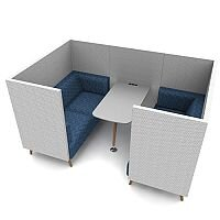 Meeting Pod TRYST 4 Seater Grey & Blue STK27