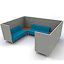 Meeting Pod TRYST 6 Seater Grey & Blue STK47