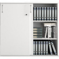 UNI Sliding Door Lockable Storage Cabinet in White W1000xD425xH1120mm