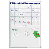 Franken Monthly Planner 600 x 900mm – 5 Week Plan, Magnetic, Dry and Wet Markers, Write On and Write Off, Aluminium & Extra Space For Memos (VO-18)