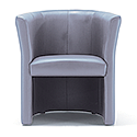 Tub Armchair Leather Look Grey Vancouver Round