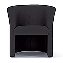 Tub Armchair Black Fabric Vancouver Round