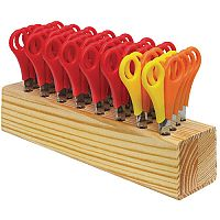 Westcott Children's Wooden Scissor Block with 32 Pairs of Scissors - Ideal for Use In Schools, Creches, Homes & More. 26 Pairs Of Right Handed & 6 Pairs Of Left Handed.