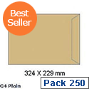 White Box C4 Envelope Manilla Pocket Press Seal (Pack of 250)