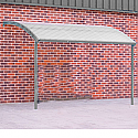 Large Wall Mounted Smoking & Bike Shelter Light Grey Steel Frame