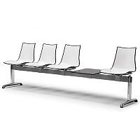 Zebra Bicolore 4 Seater Bench With Table White/Anthracite