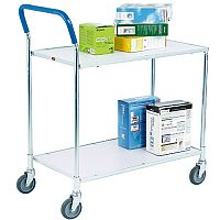 Zinc Plated 2-Tier Service Trolley Metallic Grey/White 375424