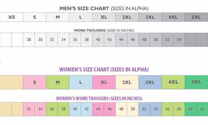 Size Charts for Men's and Women's