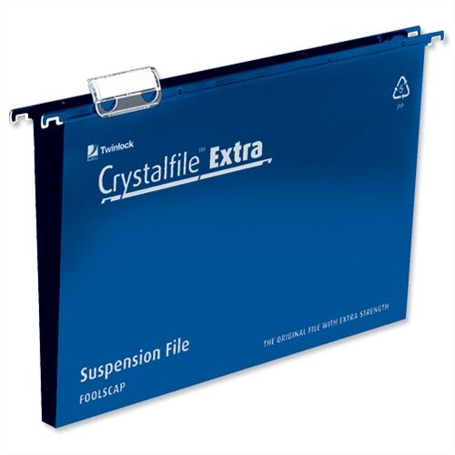 Rexel Crystalfile Extra Foolscap Suspension File Blue Plastic 30mm Pack 25