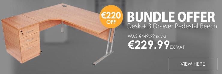 BUNDLE OFFER Radial Left Hand Desk With Desk High 3 Drawer Pedestal Beech