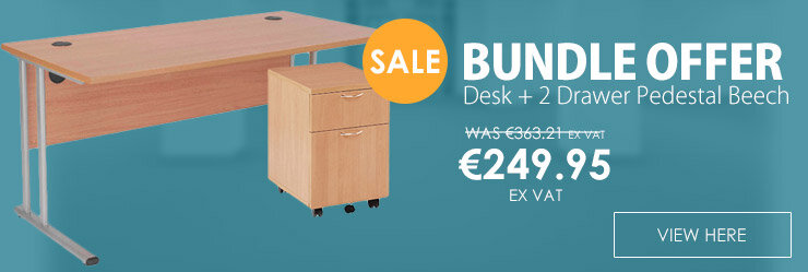 BUNDLE OFFER Rectangular 1600mm Wide Office Desk in Beech With 2 Drawer Pedestal
