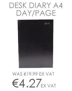 Desk Diary A4 Day/Page 2018 Black KFA41BK18