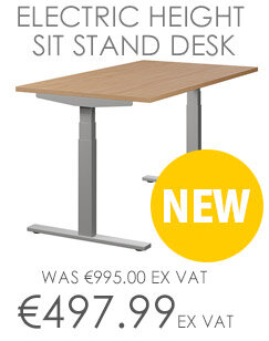LEAP Electric Height Adjustable Sit Stand Desk Plain Top W1400xD800xH655-1255mm Beech Top Silver Frame