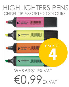 5 Star Highlighters Pens Chisel Tip Assorted Colours Wallet Pack of 4