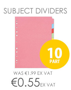 10-Part Subject Divider A4 Multipunched Assorted Colours Q-Connect KF26082