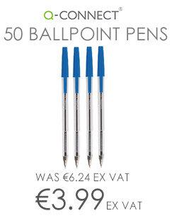 Ballpoint Pen Medium Blue Pack 50 Q-Connect
