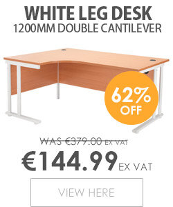 Radial Left Hand 1600mm Wide Double Cantilever White Leg Office Desk in Beech