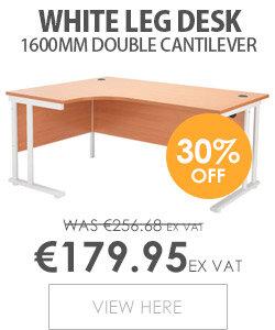 Radial Left Hand 1600mm Wide Double Cantilever White Leg Office Desk in Beech
