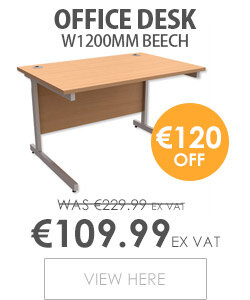 Office Desk Rectangular Silver Legs W1200mm Beech Trexus Contract