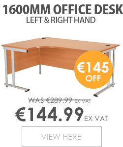 Radial Left Hand 1600mm Wide Double Cantilever Silver Leg Office Desk in Beech