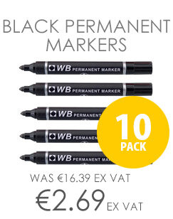 Whitebox Permanent Marker Bullet Point Black [Pack 10]