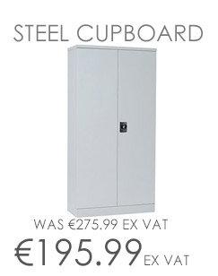 GO Steel Double Door Slim Design Cupboard Grey W914xD400xH1829mm