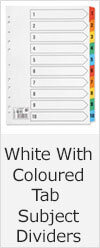 White & Coloured Tab Subject Dividers