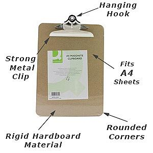 a4 hardboard clipboard from Q- Connect