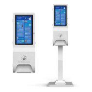 LCD hand sanitiser kiosk free standing or wall mounted