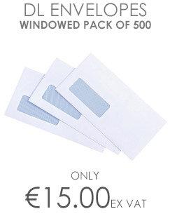 DL+ White Gummed Envelope 90gsm with Window Pack of 500