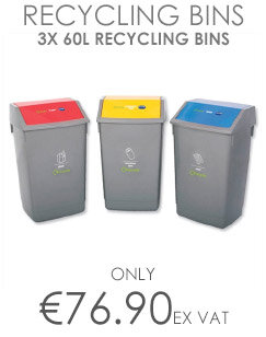 Addis Recycling 3x 60L Bins Kit with Colour Coded Lids Flip Top