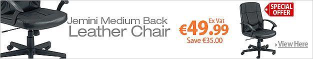 Jemini Medium Back Leather Faced Executive Armchair Black