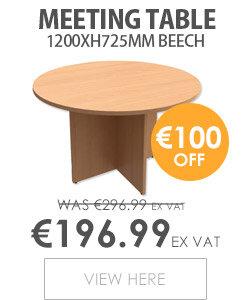 Round Meeting Table X-Panel Legs Dia1200xH725mm Beech Kito