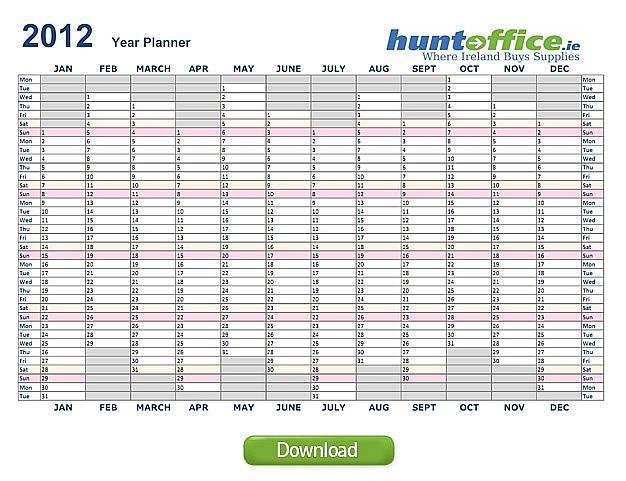 Planner Download 2012 2012 Year Planner